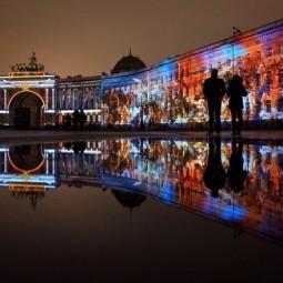 Световое шоу на Дворцовой площади к 100-летию Октябрьской революции