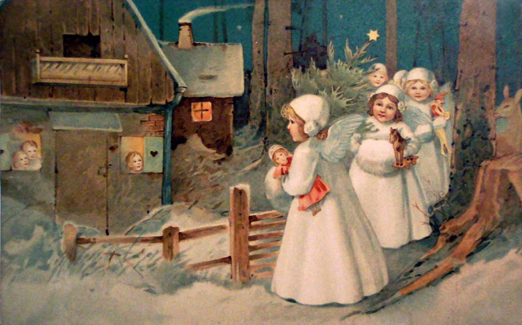 настоящее время рождество на старых русских открытках находятся