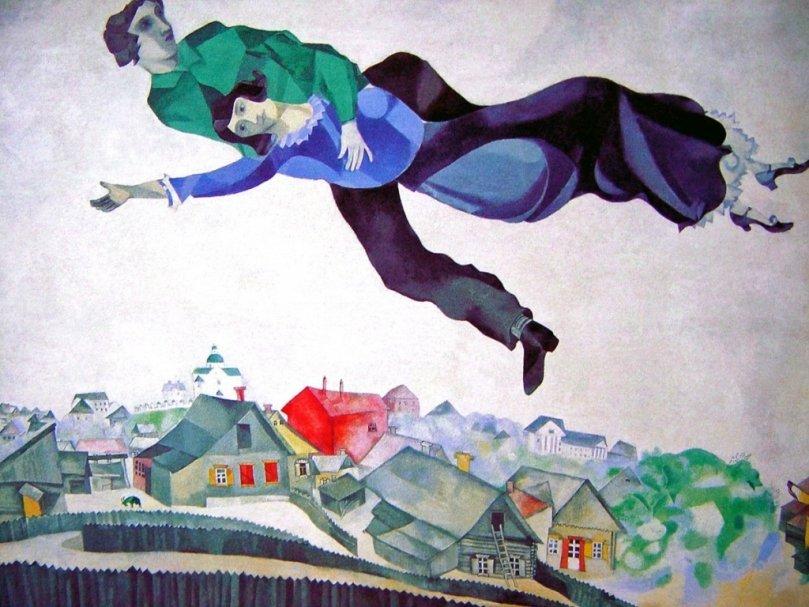 Шоколадная копия «Прогулки» Марка Шагала вЛетнем саду