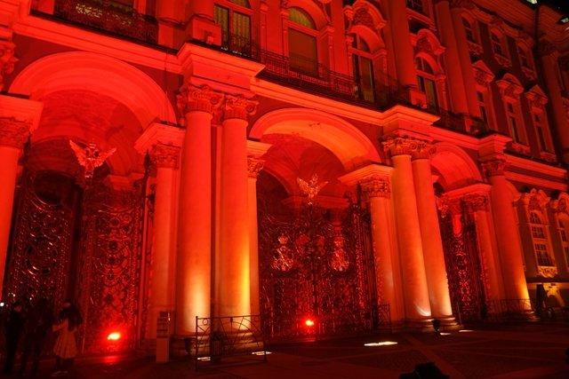 Световое шоу наДворцовой площади к100-летию Октябрьской революции